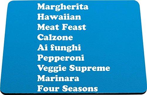 Hippowarehouse Types of pizza margherita Hawaiian meat feast calzone ai funghi pepperoni veggie supreme marinara four seasons printed mouse mat pad accessory black rubber base 240mm x 190mm x 60mm