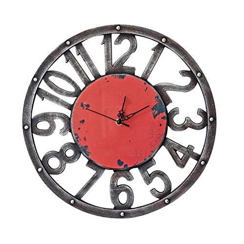 BGGZXX Reloj de Pared Retro Reloj Decorativo Relój de péndulo Montado en la Pared, Creativo Cocina de casa Grande Sala,40cmindiameter
