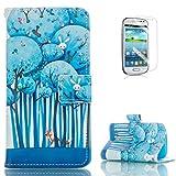 Samsung Galaxy S3 Mini i8190 PU Leder Brieftasche Hülle (Mit freiem Schirm-Schutz) KaseHom Kühl Mode Bunt Entwurf Foli