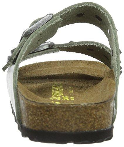 BIRKENSTOCK Unisex-Erwachsene Arizona Leder Pantoletten Grün (Studded Olive)