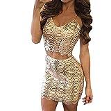 VRTUR Pailletten Kleid Damen Cocktailkleid Welle Rahmen Rückenfrei V-Ausschnitt Tank Weste Ernte Tops + Kurzer Rock Kleid (Large,Gold)