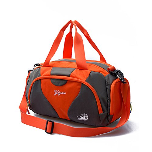 d4ccc912971e Hit Color Swim Bag Duffle Bag Travel Sports Gym Bag Waterproof with Dry Wet  Area Shoes Compartment for Women Men (Grey orange) - Buy Online in Oman.