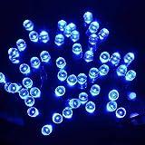 lederTEK Energía Solar Luces de Hadas de Cuerda 12m 100 LED 8 Modos de Luces de Navidad para Exterior, Jardínes, Hogares, Boda, Fiesta de Navidad,Impermeable (100 LED Azul)