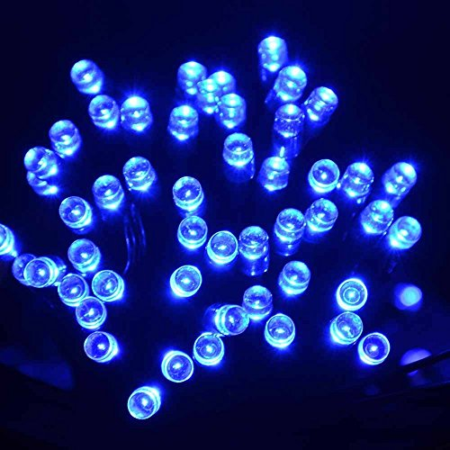 lederTEK potente solare leggiadramente impermeabile luci della stringa di 12m 100 LED 8 modi di Natale lampada decorativa per scoperta, giardino, casa, matrimonio, Natale Capodanno Party (100 LED Blu)