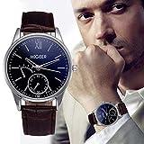 Souarts Herren Armbanduhr Einfaches Design Geschäfts Casual Quarz Uhr mit Batterie Schwarz Band Weiß Zifferblatt (blau)