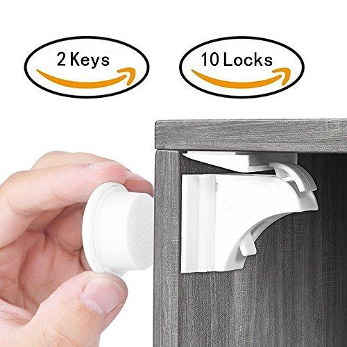 Balfer Babysicherheit Magnetisches Schrankschloss-Set ohne Bohren(10 Schlösser+ 2 Schlüssel) Test