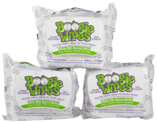 Boogie Wipes Sanfte Kochsalzlösung für Stuffige Nasen, einfach geruchlos, 3 Stück