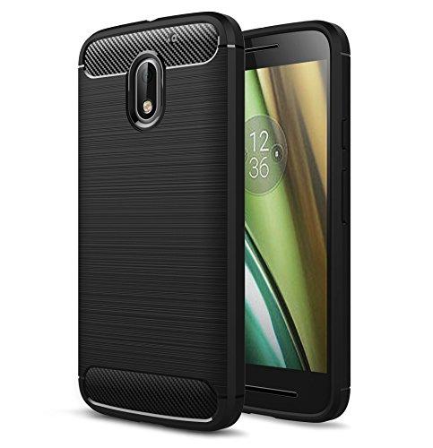 Preisvergleich Produktbild Moto E3 (3rd Gen 2016) Handy Tasche, FoneExpert® Carbonfaser Textur Hülle Abdeckung Silikon schutzhülle ShockProof Texture Carbon Fiber Case Cover Für Motorola Moto E3 (3rd Gen 2016)