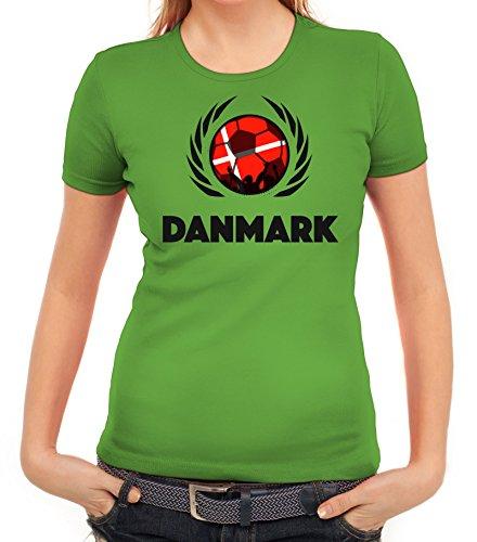 ShirtStreet Denmark Wappen Soccer Fussball WM Fanfest Gruppen Fan Wappen Damen T-Shirt Fußball Dänemark Apfelgrün