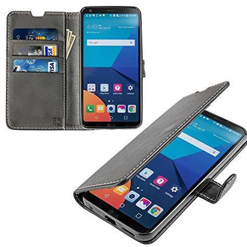 LG G6 Hülle, KingShark [Ständer Funktion] LG G6 Schutzhülle, Premium PU Leder Flip Tasche Case mit Integrierten Kartensteckplätzen & Ständer für LG G6-Leder Serie schwarz