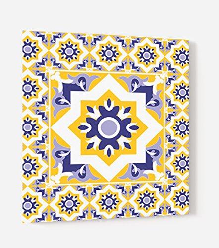 'Boden für Dunstabzugshaube aus Glas Synthese oder Kredenz-Küche bereit Stellen mit Doppelseitiges Klebeband Karo Vintage blau und gelb--dicke 4mm-[Kunstdruck Wand®] L. 60 x H. 70 cm