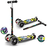 XYKY Kids 3 Wheel Kick Scooter, Height Adjustable Foldable Assemble Free Smooth Riding Lean to Steer Kick Scooter with Flashing Pu Wheel Supports 50kg Weight