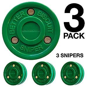 Better Biscuit Sniper-3er-Pack Eiswürfel, Stickhandling und Passing Puck – Dieser Keks ist ideal für Street Hockey, Dunkelgrün
