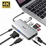 Hieha USB C Hub, 9 in 1 Aluminium USB C Adapter auf HDMI DVI(4k*2k) VGA, USB 3.0 Port, SD/TF Kartenleser Gigabit Ethernet für MacBook, MacBook Pro Samsung S8/S9 und Type-C Geräte