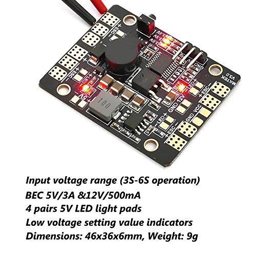 Matek PDB, Power Distribution Board (5 In 1, Input Voltage Range 3S-6S, BEC 5V&12V) für FPV Racing RC Drone Quadacopter by LITEBEE (46mm* 36mm) (Low-voltage-verkabelung)