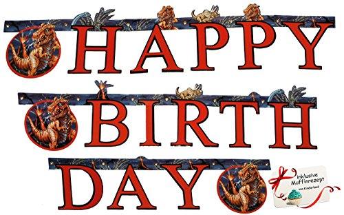 """1,8 m Girlande - Dino & Dinosaurier - Scout """" Happy Birthday """" - Geburtstagsgirlande Party - für Kinder - Urzeit Saurier Tyrannosaurus Rex - Jungen - Geburtstagsgirlande Kindergeburtstag - Buchstabengirlande"""