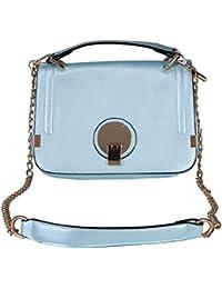 Mundo De La Moda Removable Strap Casual Blue Faux Leather Sling Bag