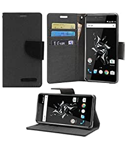 Professional Design Video Stand View Perfect Fitting Flip Cover Case Mercury Goospery Fancy Diary Ultra Slim wallet Mobile Flip Cover For Lenovo K5 Plus - Black