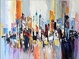 Kunst & Ambiente - Abstraktes Bild - New York Gemälde - Wandbild - Colorful Skyline - Martin Klein - Abstraktes Ölgemälde kaufen - Acrylbilder Kaufen - Big Apple - 120cm x 90cm