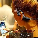 KOBWA - Auriculares inalámbricos de conducción ósea, Manos Libres, estéreo, Deportivos, Bluetooth, con micrófono y Control de Volumen para Deportes al Aire Libre
