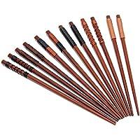 Palillos, 5 par palillos de alta calidad restaurante chino japonés palillos Set de Alta Calidad, Diseño de Antideslizante (6 colores RX)