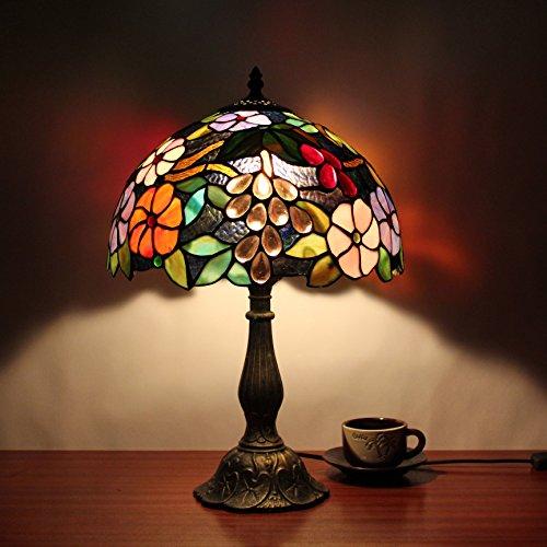 Gweat 12-Zoll-Weinlese-Pastoral Gorgeous Flowers Buntglas Tiffany Tischlampe Schlafzimmer Lampe Nachttischlampe