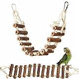 OMGO Jouet Perroquet Échelle pour Oiseaux en Bois Naturel Echelle Suspendu Perchoir Mâcher Jouets pour Perroquets Pont Tournant Fait à la Main Jouet d'Entraînement pour Petits Animaux