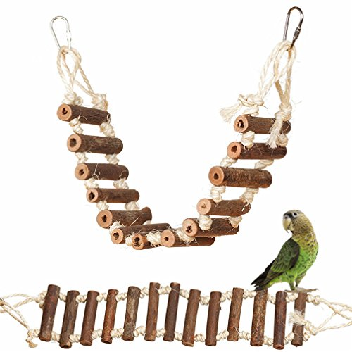 Hianiquaime Scaletta in Legno Naturale Altalena con Moschettone Uccelli Giocattoli Posatoio Gabbia Accessori per Piccolo Medio Grande Pappagalli 60 x 10 cm