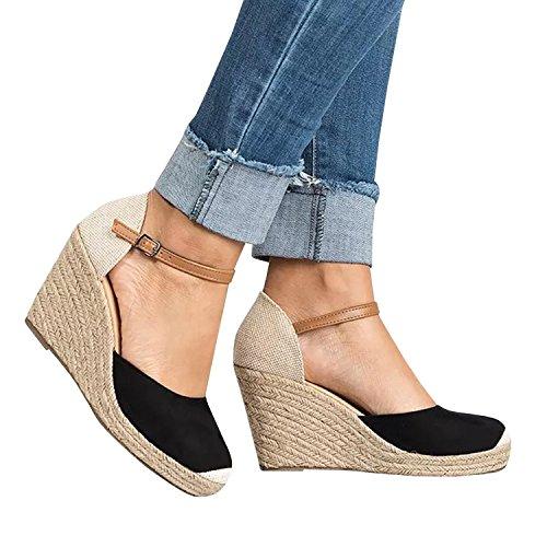 Minetom scarpe moda sandali espadrillas con cinturino alla caviglia zeppe donna corda intrecciato tanga tacco zeppa piattaforma 10 cm c nero eu 37