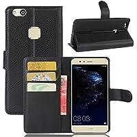 Guran® Funda de Cuero PU Para Huawei P10 Lite Smartphone Función de Soporte con Ranura para Tarjetas Flip Case Cover Caso-negro