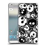 Head Case Designs White Jazzy Skulls Soft Gel Case Compatible for Google Pixel 2