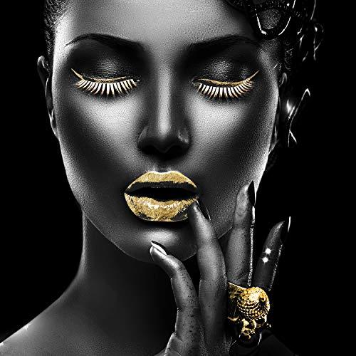 Queence   Acrylglasbild mit Blattgold   Wandbild Glasbild Acrylbild Rahmenlos   Goldene Lippen   Druck auf Acrylglas   Goldveredelung   Größe: 50x50 cm