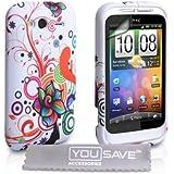 Yousave Accessories Floral Swirl Muster Silikon Gel Schutzhülle Mit Displayschutz Film Und Micro Faser Poliertuch Für HTC Wildfire S-Weiß/mehrfarbig