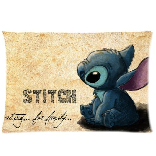 Custom Cute Cartoon Lilo & Stitch Zippered Pillowcase Covers Standard Size 20x30 Inch (Twin sides)