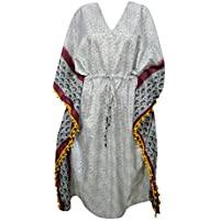 Mogul Interior Womens Kaftan Maxi Dress White Printed Sari Beach Coverup Caftan One Size