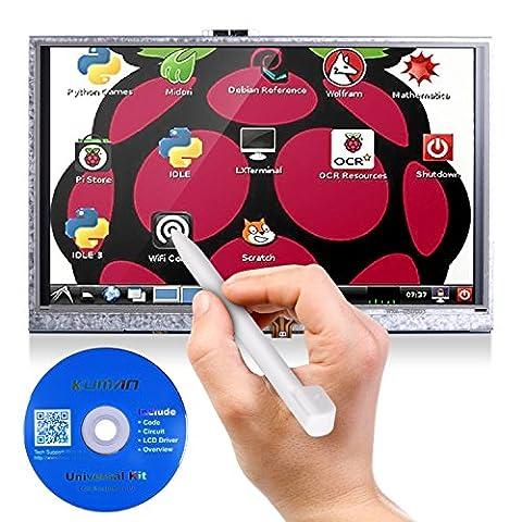 Tablette tactile 5 pouces pour raspberry pi 3 2 avec une module d'affichage 800x480 LCD HDMI TFT avec panneau de touches, carte SD et un stylo modèle b Kuman SC5A