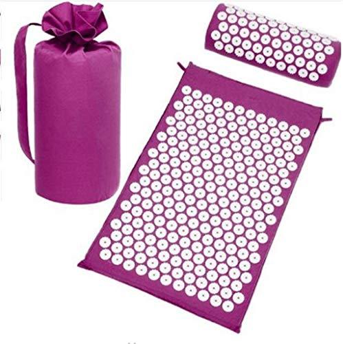 JHKJ Estera de Masaje de acupresión de Yoga/colchoneta de acupuntura y Almohada con Bolsa de Transporte,Purple