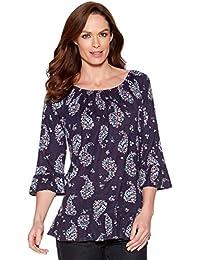 M&Co Ladies Three Quarter Length Sleeve Gypsy Style Paisley Print Flute Sleeve Top