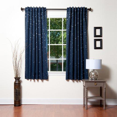 Best home fashion stella stampa tenda termica isolante oscurante, 160cm l, navy, 52w x 63l