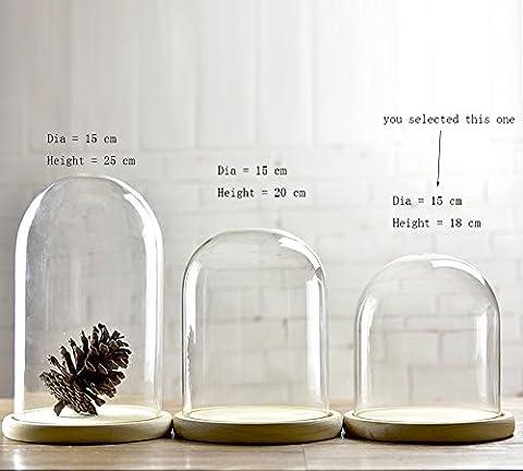 Cloche en verre avec plateau en bois, 15cm de diamètre, Verre, claire, Small