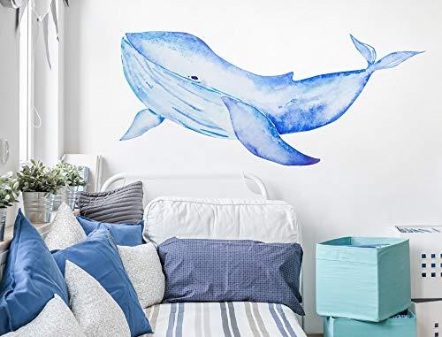 Wandtattoo Aquarell Wal in blau Wandsticker Unterwasserwelt Deko Tiere -