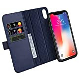 ZOVER Coque iPhone XS,Coque iPhone X, Détachable Housse Portefeuille iPhone XS en Cuir Véritable avec 3 emplacements pour Cartes-Bleu Marin