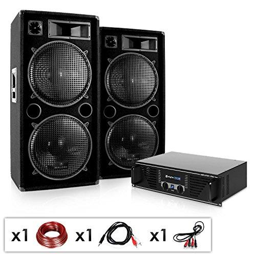 Elektronik Star Phuket Pulsar • DJ PA Komplettset • 2000W DJ-Anlage • 2 x 500 W RMS Lautsprecher-Boxen & 1000 W Verstärker • für 400 Personen • schwarz