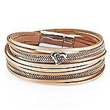 StarAppeal Armband Wickelarmband in Leder mit Herz, Kette und Magnetverschluss Silber, Damen Armband (Gold-Hellbraun)