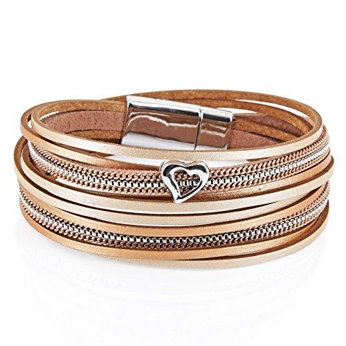 StarAppeal Armband Wickelarmband in Leder mit Herz, Kette und Magnetverschluss Silber, Damen Armband (Gold-Hellbraun) (Herz Kette-armband)