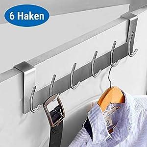 Ecooe Türhängeleiste Türgarderobe Edelstahl Abnehmbar Kleiderhaken ohne Bohren mit 6 Haken Hakenleiste für Türfalzstärken bis 2cm