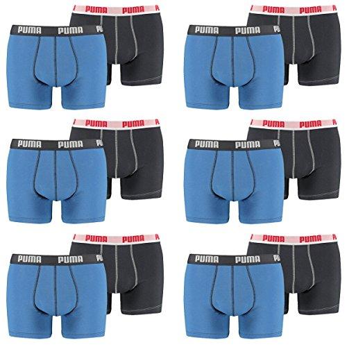 PUMA Herren Basic Boxer Boxershort Unterhose 12er Pack 056 - blue
