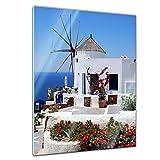 Glasbild - Griechische Mühle - - 40 x 60 cm - Deko Glas - Wandbild aus Glas - Bild auf Glas - Moderne Glasbilder - Glasfoto - Echtglas - Kein Acryl - Handmade