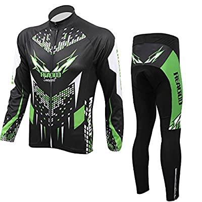 Anself Outdoor Männer Fahrradbekleidung Set Neu Sportbekleidung Langarm Trikot + Pants Atmungsaktiv