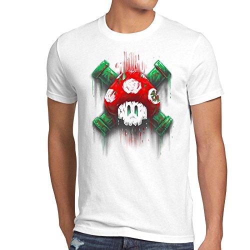 style3 Mario Totenkopf Herren T-Shirt videospiel konsole super world, Größe:XL;Farbe:Weiß